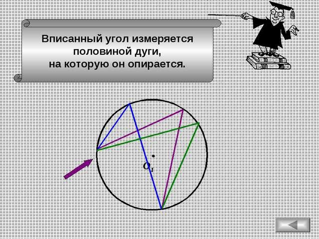 О1 Вписанный угол измеряется половиной дуги, на которую он опирается.