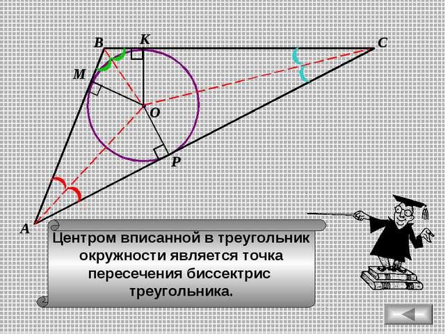 В С А М К Р Центром вписанной в треугольник окружности является точка пересеч...