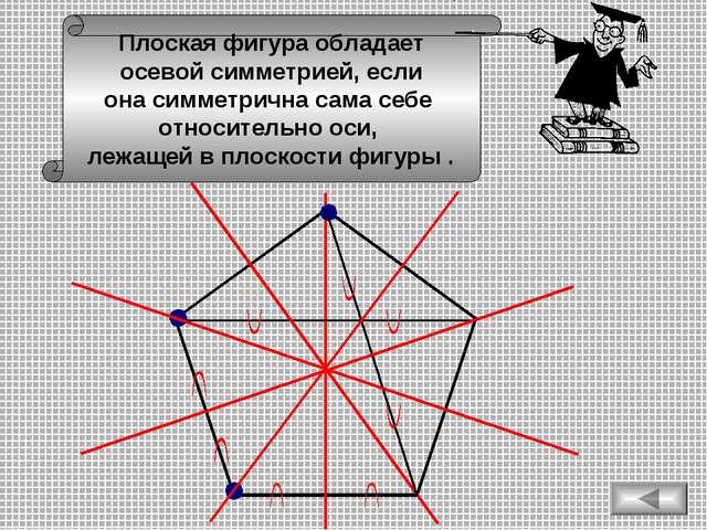 Плоская фигура обладает осевой симметрией, если она симметрична сама себе отн...