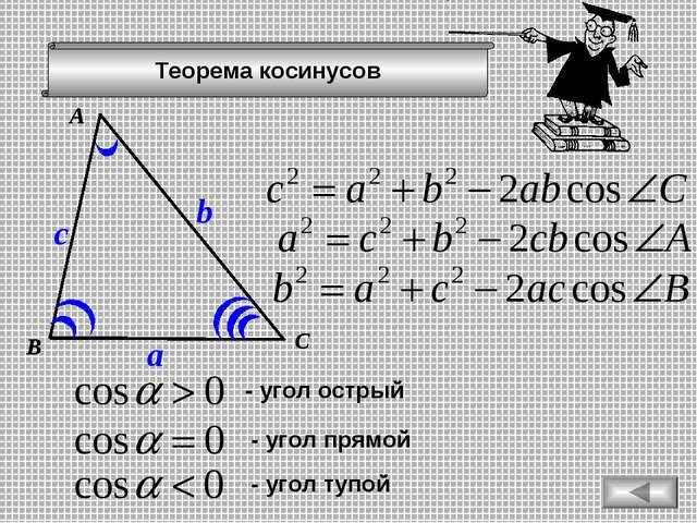 Теорема косинусов А В С a b c - угол острый - угол прямой - угол тупой