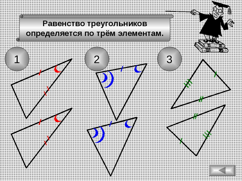 Вспомним признаки равенства треугольников 1 2 3 Равенство треугольников опред...