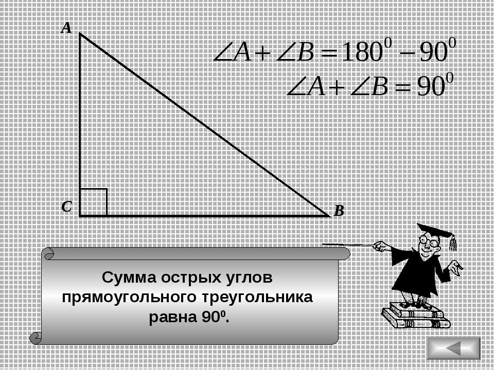 Сумма острых углов прямоугольного треугольника равна 900. А В С