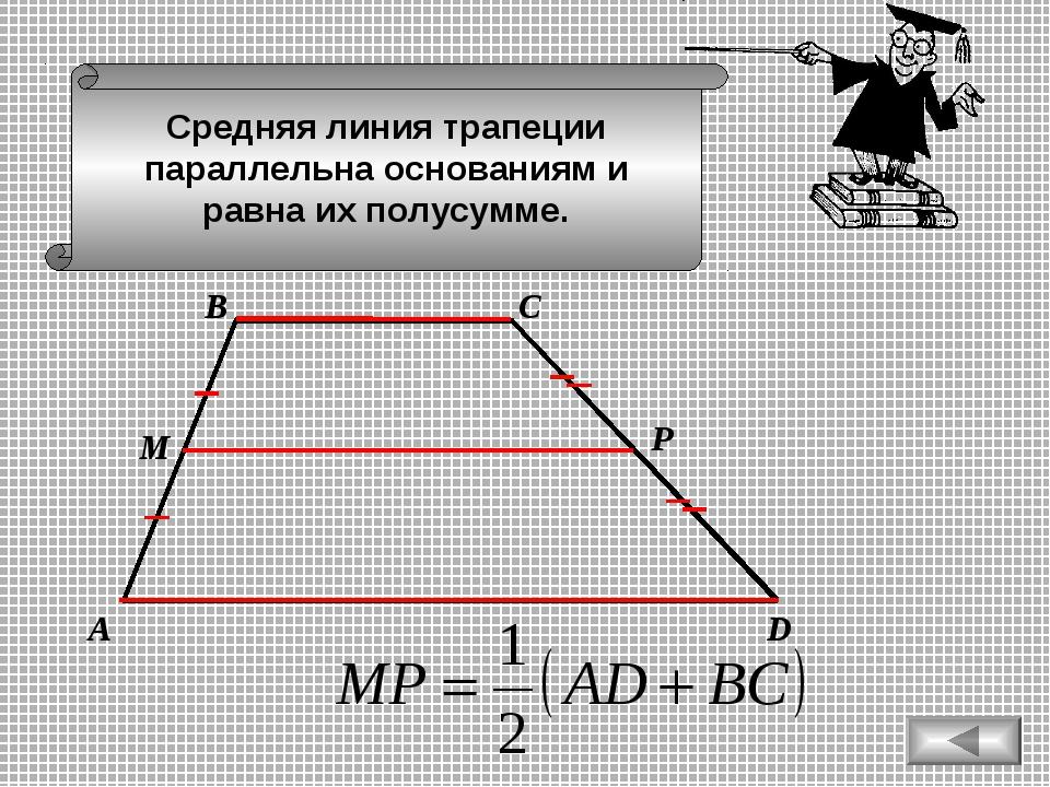 Средняя линия трапеции параллельна основаниям и равна их полусумме. А D В С М Р