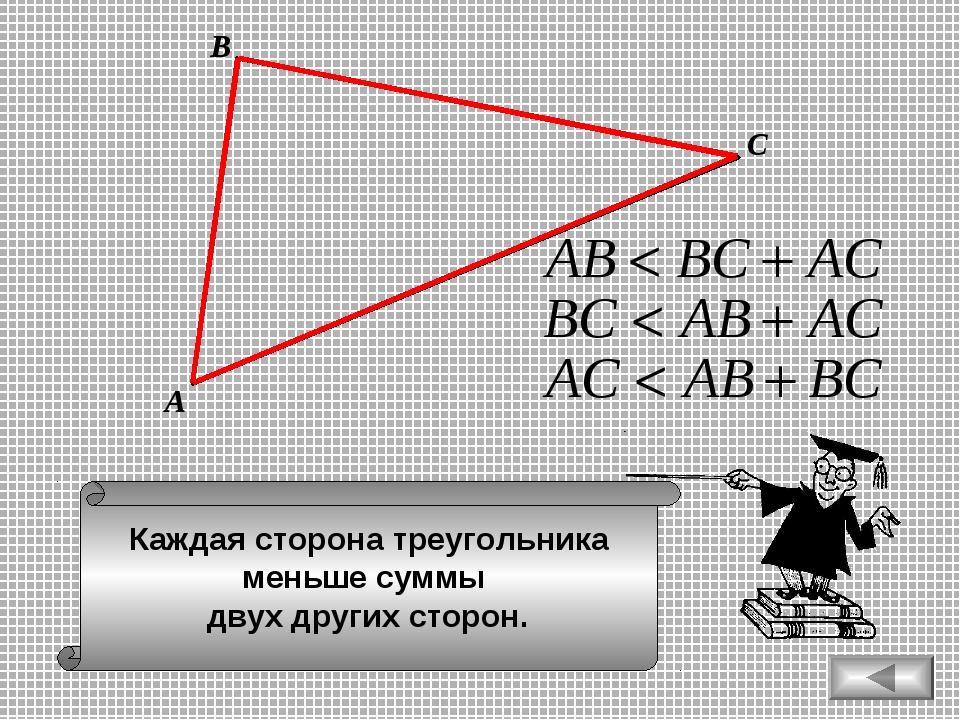 Каждая сторона треугольника меньше суммы двух других сторон. А В С