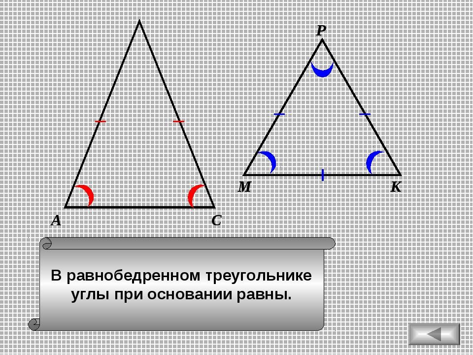 В равнобедренном треугольнике углы при основании равны. А С М К Р