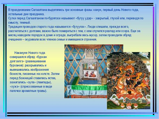 В праздновании Сагаалгана выделялись три основные фазы: канун, первый день Но...