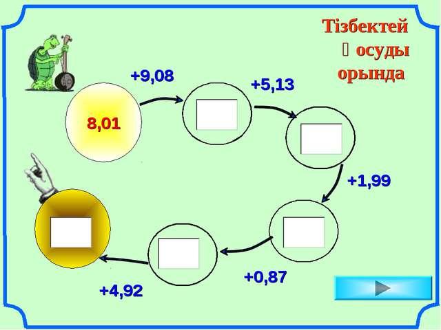 Тізбектей қосуды орында 8,01 +9,08 +5,13 +1,99 +0,87 +4,92