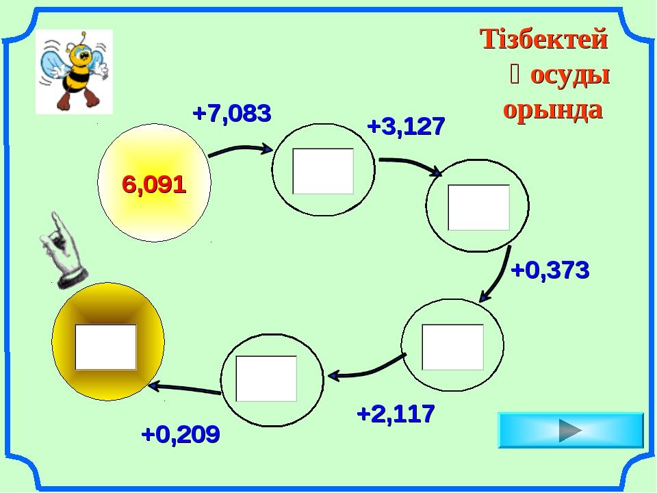 Тізбектей қосуды орында 6,091 +7,083 +3,127 +0,373 +2,117 +0,209