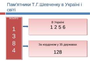 Пам'ятники Т.Г.Шевченку в Україні і світі всього 1 3 8 4 В Україні 1 2 5 6 За