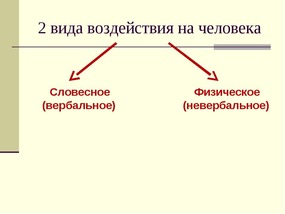 2 вида воздействия на человека Словесное (вербальное) Физическое (невербальное)