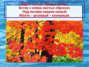 Ходит осень, бродит осень. Ветер с клёна листья сбросил. Под ногами коврик но