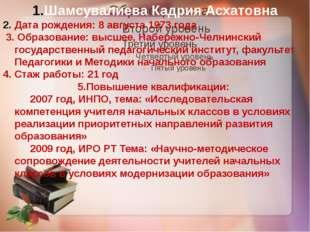 Шамсувалиева Кадрия Асхатовна Дата рождения: 8 августа 1973 года 3. Образован