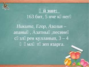 Өй эше: 163 бит, 5 нче күнегү Никита, Егор, Азалия – апаның, Азатның,песинең