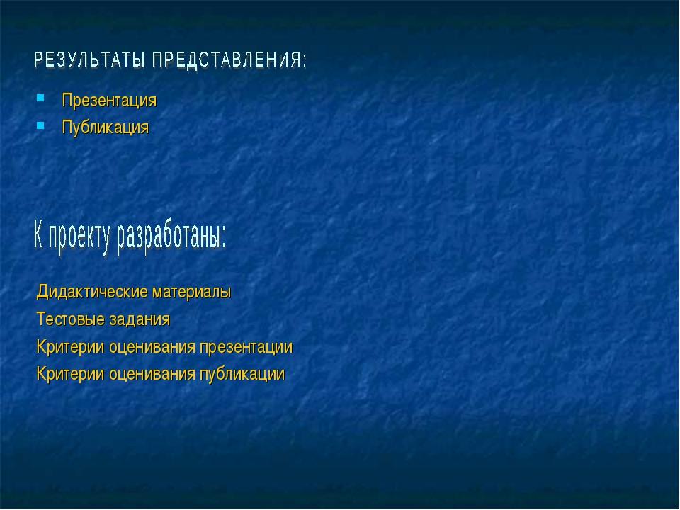 Презентация Публикация Дидактические материалы Тестовые задания Критерии оцен...