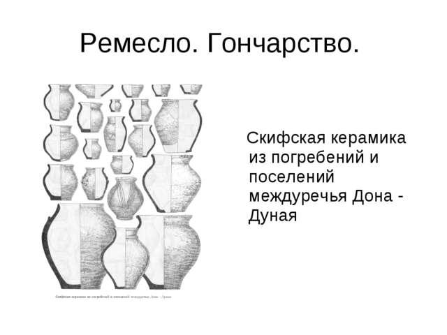 Ремесло. Гончарство. Скифская керамика из погребений и поселений междуречья Д...