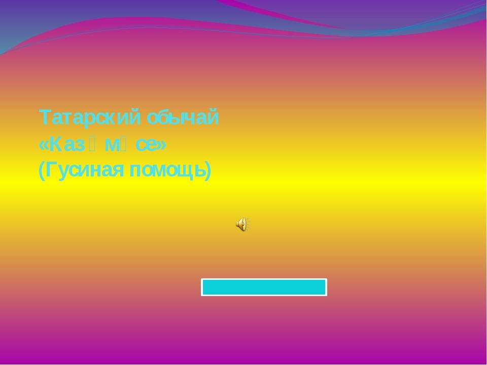 Татарский обычай «Каз өмәсе» (Гусиная помощь)