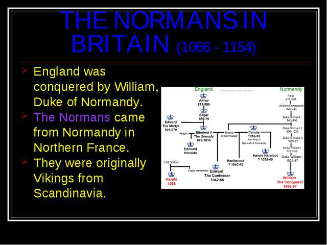THE NORMANS IN BRITAIN (1066 - 1154) England was conquered by William, Duke o...