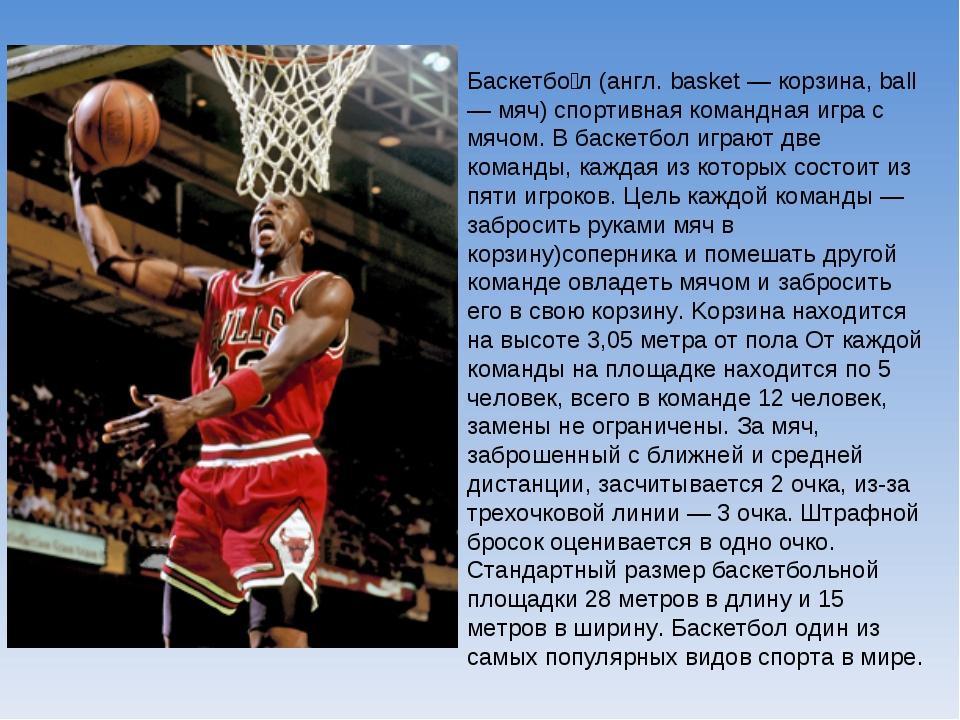 описание баскетбола по картинке лишних строк