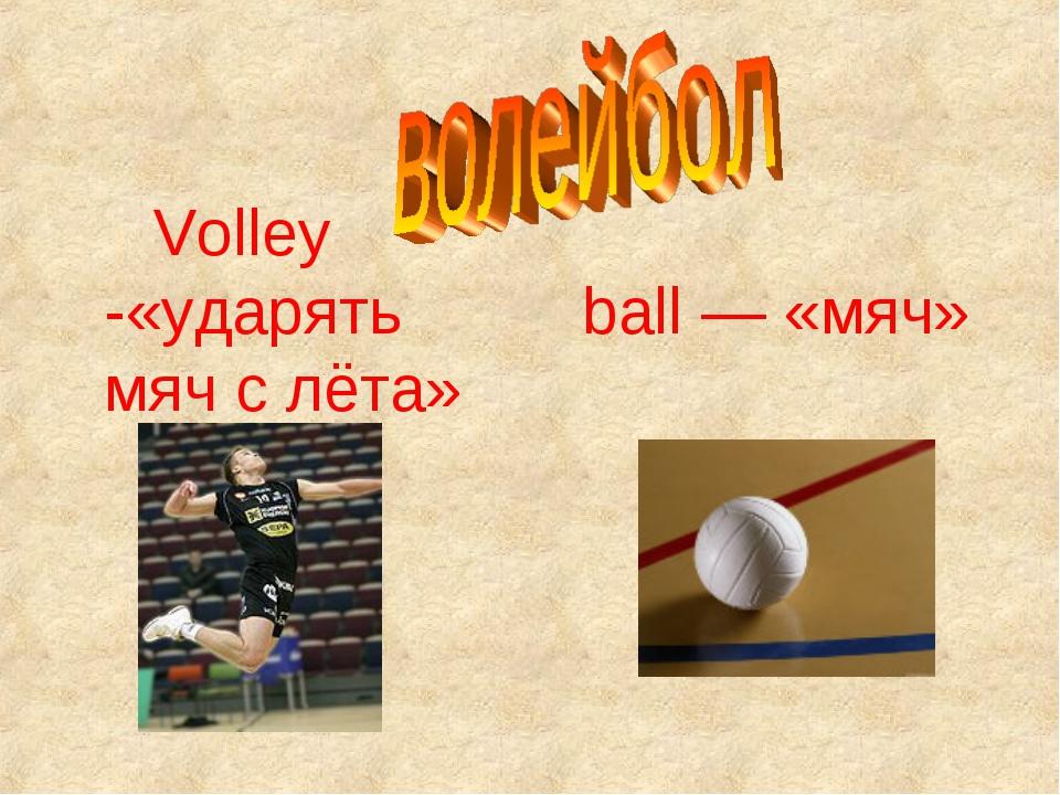 Volley -«ударять мяч с лёта» ball — «мяч»