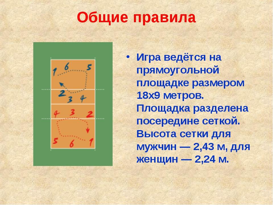 Общие правила Игра ведётся на прямоугольной площадке размером 18х9 метров. Пл...