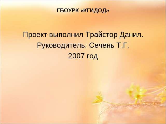 ГБОУРК «КГИДОД» Проект выполнил Трайстор Данил. Руководитель: Сечень Т.Г. 200...