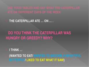 USE YOUR TABLES AND SAY WHAT THE CATERPILLAR ATE ON DIFFERENT DAYS OF THE WEE