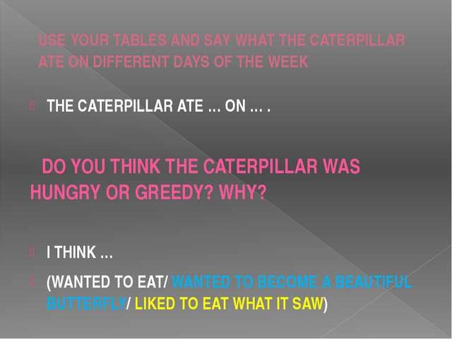 USE YOUR TABLES AND SAY WHAT THE CATERPILLAR ATE ON DIFFERENT DAYS OF THE WEE...