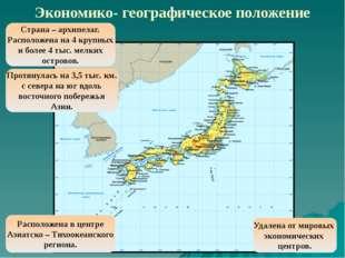 Экономико- географическое положение Страна – архипелаг. Расположена на 4 круп