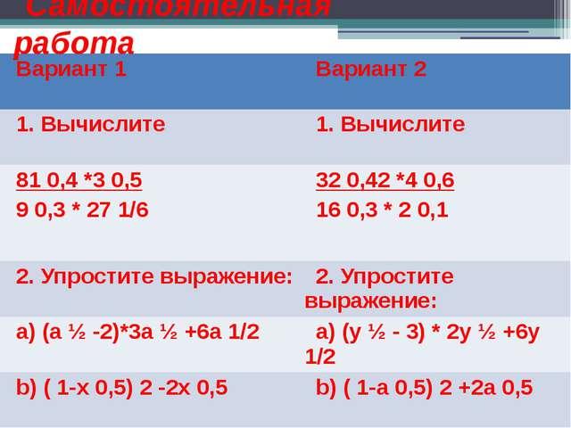 Самостоятельная работа Вариант 1 Вариант 2 1. Вычислите 1. Вычислите 810,4*30...