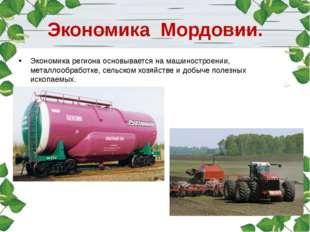 Экономика Мордовии. Экономика региона основывается на машиностроении, металло