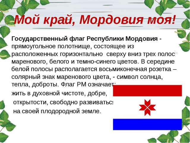 Мой край, Мордовия моя! Государственный флаг Республики Мордовия - прямоуголь...