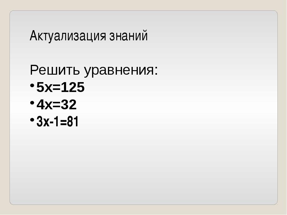 Актуализация знаний Решить уравнения: 5x=125 4x=32 3x-1=81