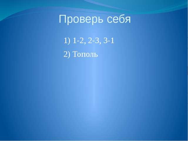 Проверь себя 1) 1-2, 2-3, 3-1 2) Тополь