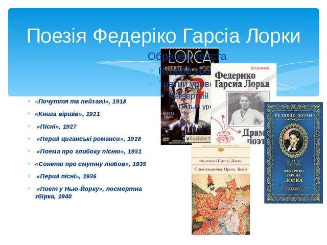 Поезія Федеріко Гарсіа Лорки «Почуття та пейзажі», 1918 «Книга віршів», 1921...