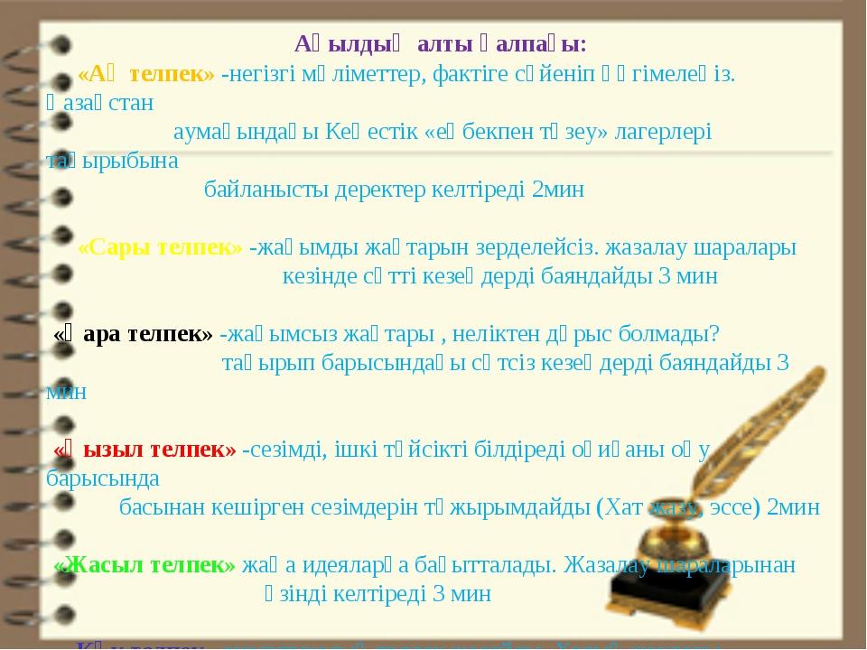 Ақылдың алты қалпағы: «Ақ телпек» -негізгі мәліметтер, фактіге сүйеніп әңгім...