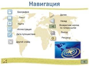 Биография Текст Карта Иллюстрация Дата путешествия Другой слайд Далее Назад В