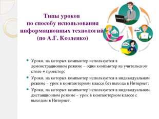 Типы уроков по способу использования информационных технологий (по А.Г. Козле