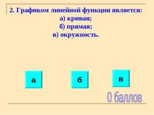 2. Графиком линейной функции является: а) кривая; б) прямая; в) окружность. а