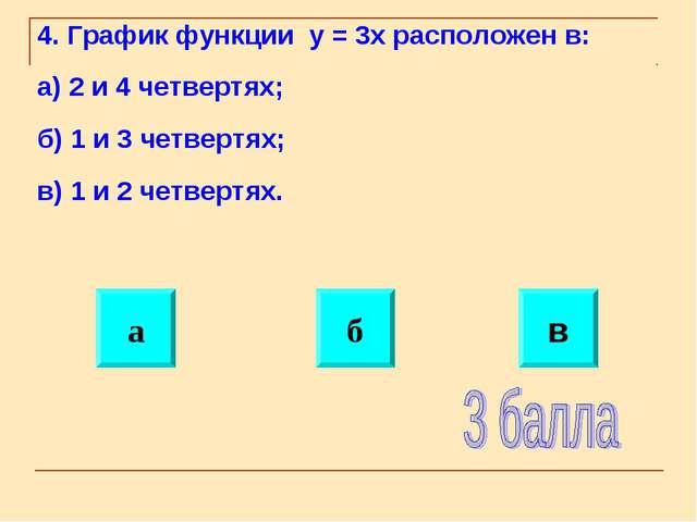 4. График функции y = 3x расположен в: а) 2 и 4 четвертях; б) 1 и 3 четвертях...