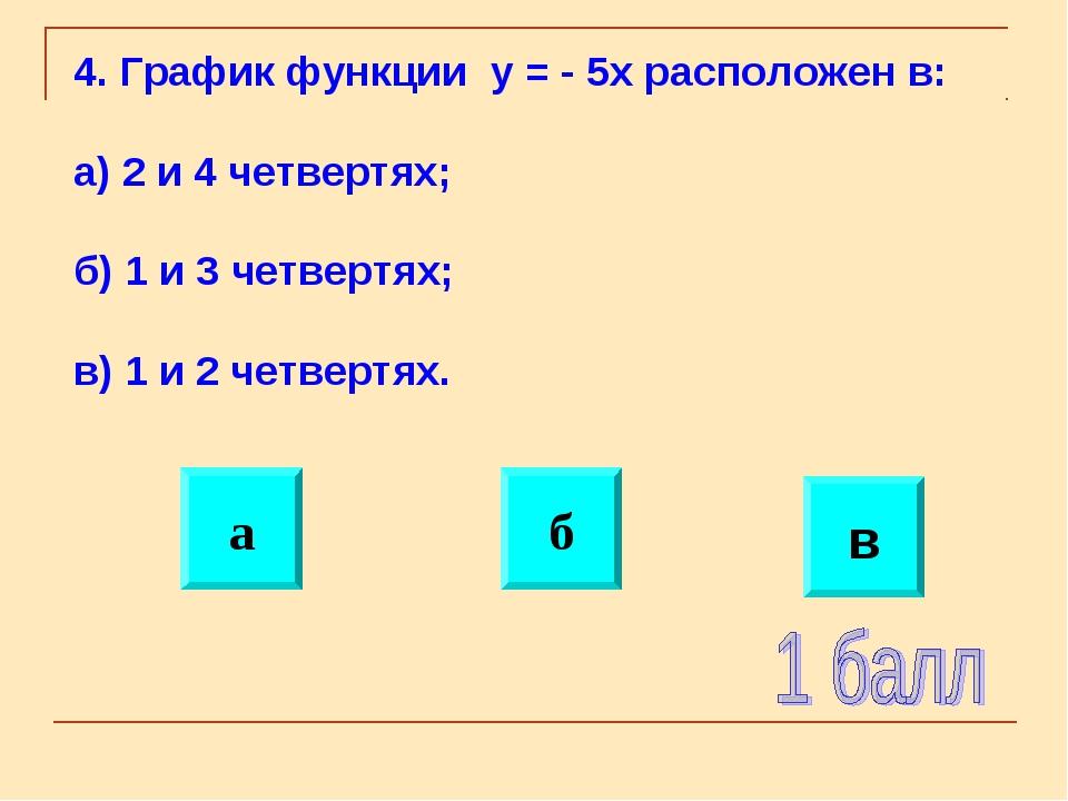 б а в 4. График функции y = - 5x расположен в: а) 2 и 4 четвертях; б) 1 и 3 ч...