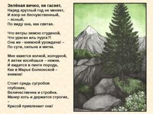 Зелёная вечно, не гаснет, Наряд круглый год не меняет, И взор не бесчувстве