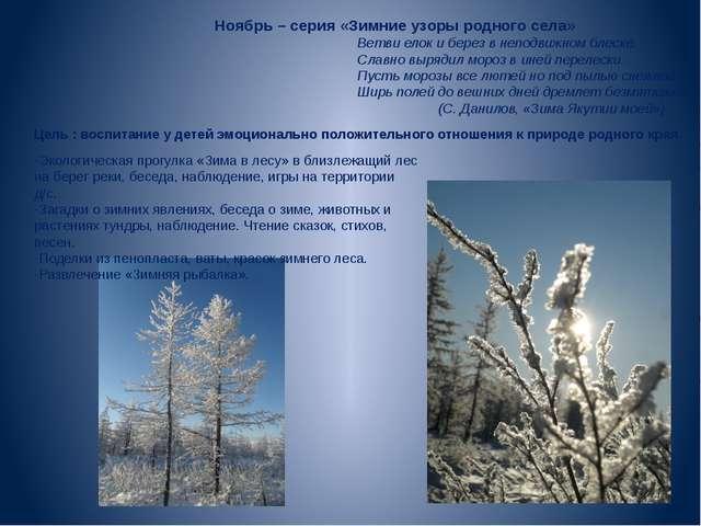 Ноябрь – серия «Зимние узоры родного села» Ветви елок и берез в неподвижном...