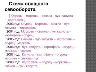Схема овощного севооборота ( Огурцы – морковь – свекла - лук- капуста - карт
