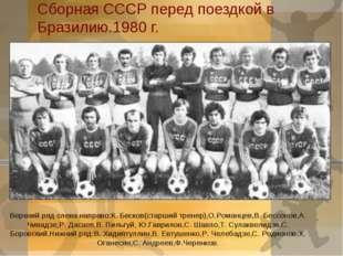 Сборная СССР перед поездкой в Бразилию.1980 г. Верхний ряд слева направо:К. Б
