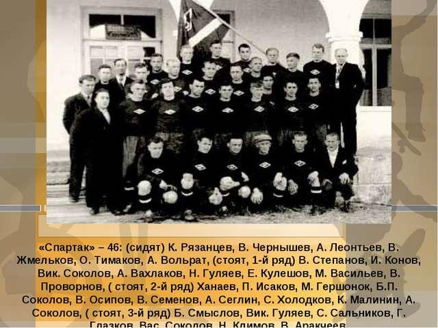 «Спартак» – 46: (сидят) К. Рязанцев, В. Чернышев, А. Леонтьев, В. Жмельков, О...