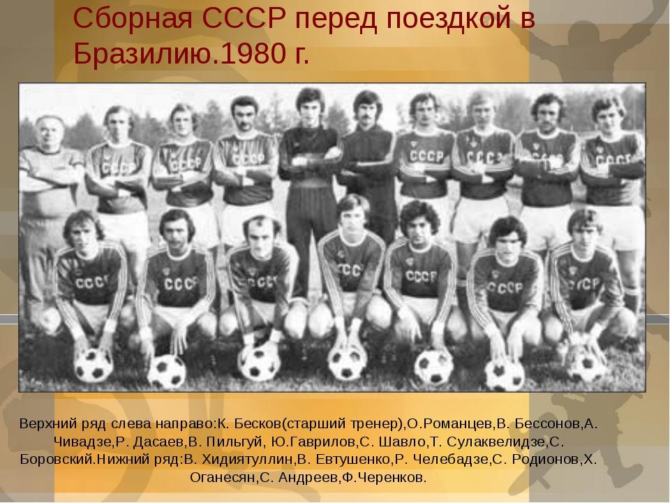 Сборная СССР перед поездкой в Бразилию.1980 г. Верхний ряд слева направо:К. Б...