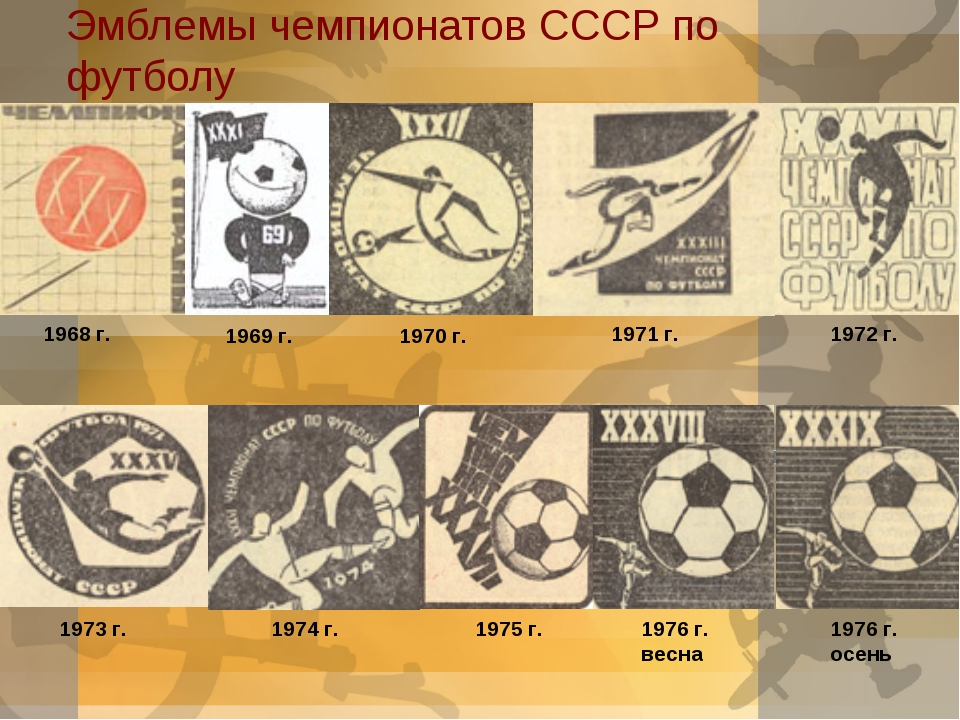 Эмблемы чемпионатов СССР по футболу  1968 г. 1969 г. 1970 г. 1971 г. 1972 г....