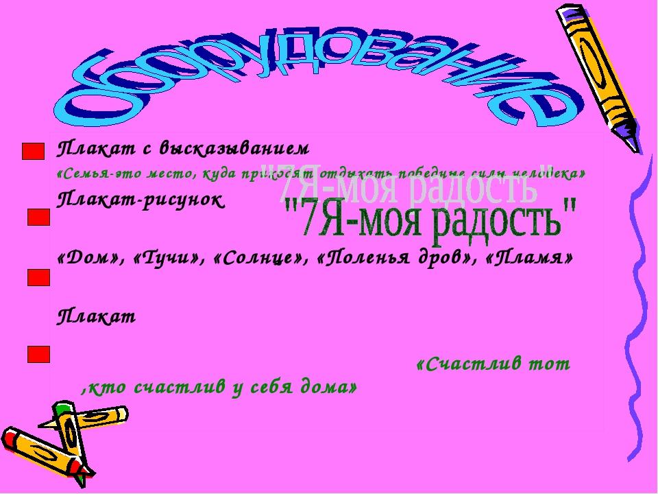 Плакат с высказыванием «Семья-это место, куда приходят отдыхать победные силы...