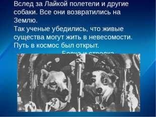 Вслед за Лайкой полетели и другие собаки. Все они возвратились на Землю. Так
