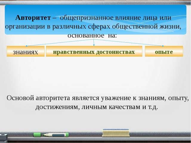 Авторитет – общепризнанное влияние лица или организации в различных сферах об...